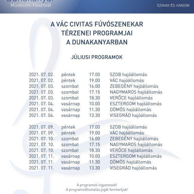 Vác Civitas Fúvószenekar térzenei programjai